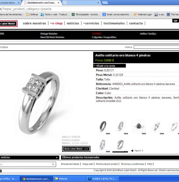 Diseño gráfico web tienda on line e-shop joyeria relojería Barcelona