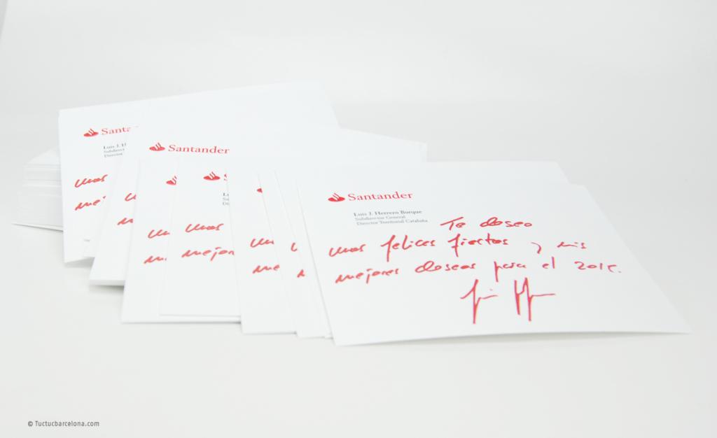 Imprimir tarjeta de felicitacion navidad Banco Santander Tuctucbarcelona