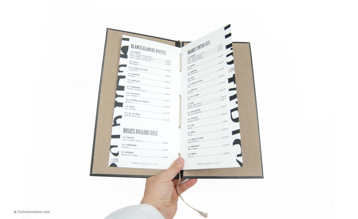 Diseño gráfico carta de vinos restaurante Barcelona