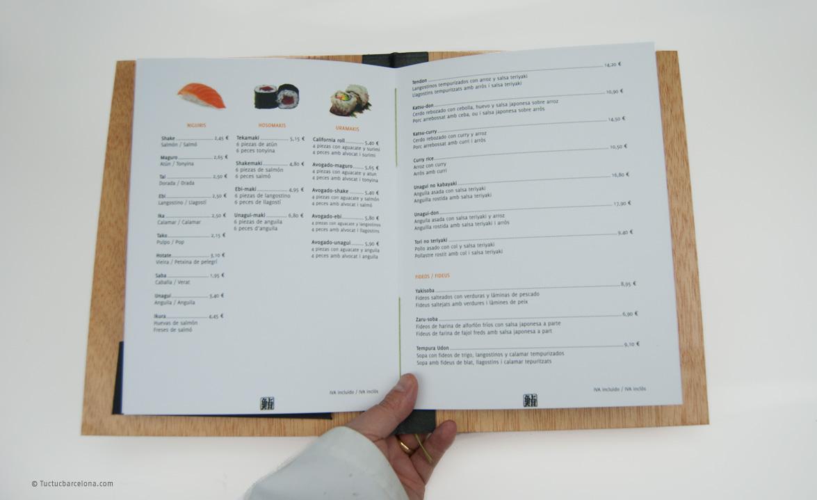 Diseño gráfico y encuadernación carta y menú.