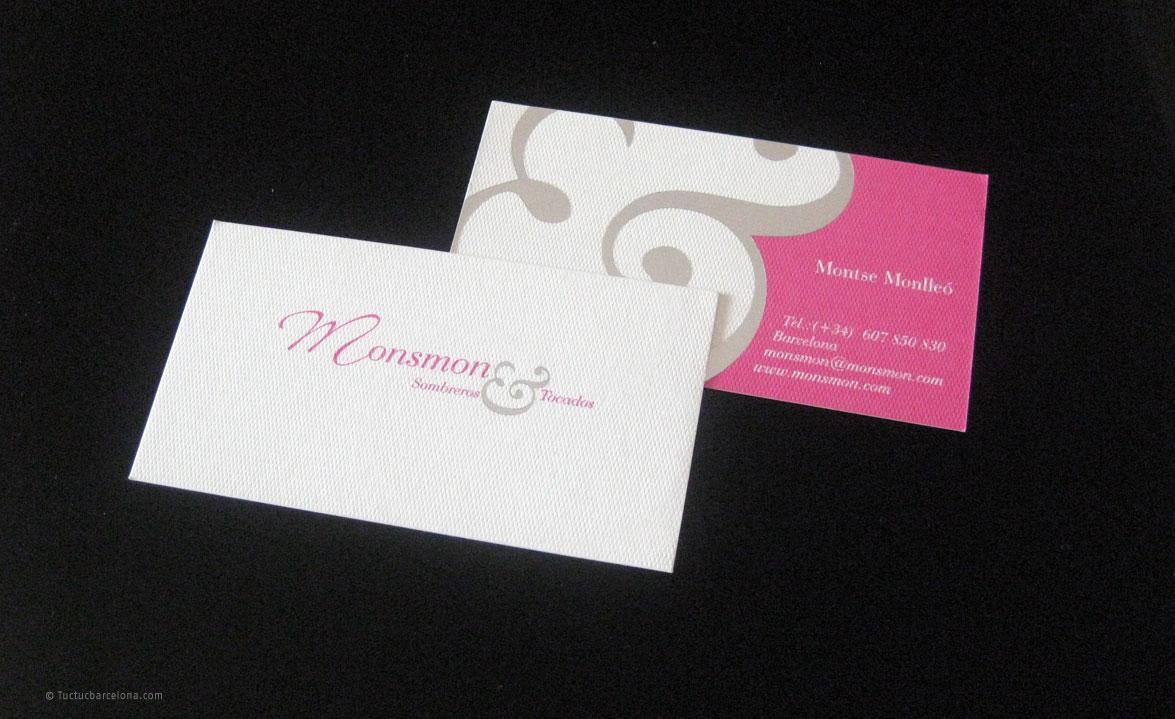 Diseño de tarjetas de visita profesionales. Sector indumentaria. Diseño realizado pro estudio de diseño gráfico tuctucbarcelona